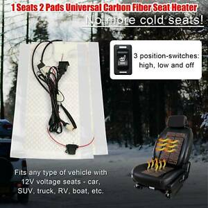 2 Pads Universal Carbon Fiber Car Seat Heater Kit 3 Level Rectangular Switch Fsy