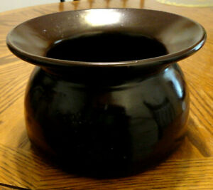 Brown Glaze Pottery Stoneware Spittoon Old Good Perfect Condition