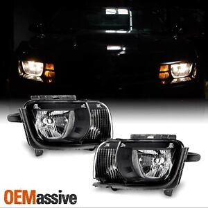 black Fits 2010 2011 2012 2013 Chevy Camaro Left Right Side Headlights Pair