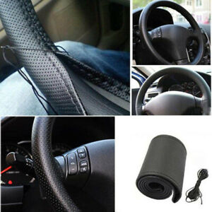 Diy Car Truck Leather Steering Wheel Cover With Needles And Thread Black