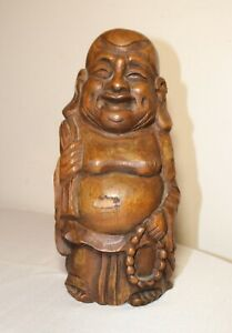 Antique 1800 S Hand Carved Chinese Bamboo Wood Buddha Sculpture Statue Figurine