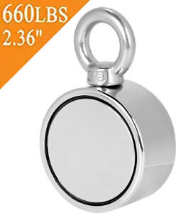 Double Sided Round Neodymium Fishing Magnet With Eyebolt Vertical Tension