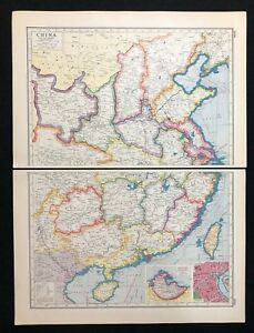 Vintage Map 1920 China Insets Of Weihaiwei Shanghai Harmsworth S Atlas