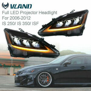 Vland Pair Led Projector Headlights For 2006 2012 Lexus Is 250 Is 350 New