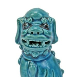 Antique Asian Oriental 6 5 Blue Porcelain Chinese Foo Dog Figurine