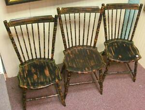 Antique Set Of 3 Penna Windsor Plank Seat Chairs Nice