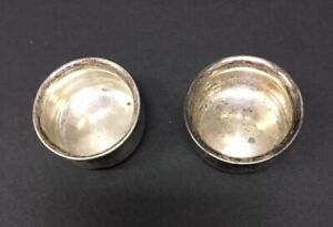 2 Antique Sterling Silver Individual Salt Cellars