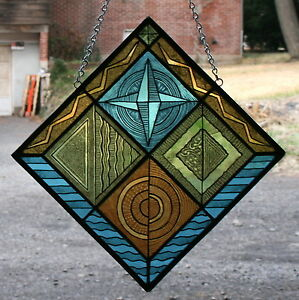 Stained Glass Hand Painted Kiln Fired Art Deco Panel 2502 01
