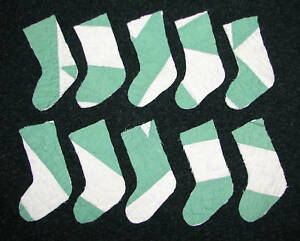 10 Primitive Antique Cutter Quilt Stockings Green White Scrapbooking Applique