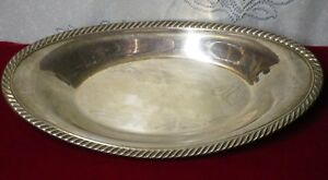 Vintage Wm A Rogers Silverplate Hollowware Large Oval Bread Tray Rope Edge