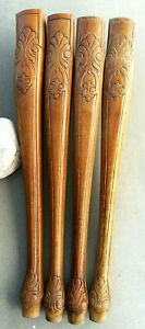 Lot Of 4 Wood Carved Table Legs Curved Queen Ann Cabriole 28 3 4