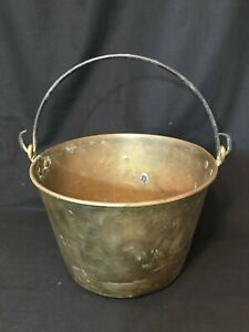 Antique Vintage Primitive Brass Metal Bucket Pail Handle Brown Bros Waterbury Ct