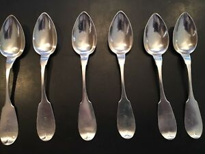 6 Antique Fiddleback Sterling Teaspoons Fom H S Abbey Of Akron Mono