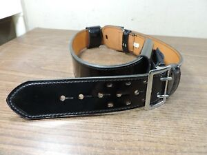 Dutyman 1031 40 Leather Belt Police Style Black Gloss Finish W Keepers