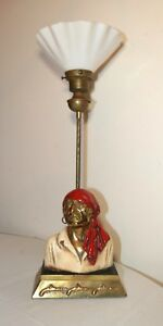 Antique Paul Herzel Signed Marion Bronze Clad Glass Figural Pirate Table Lamp