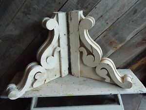 Antique Pair Old Architectural Corbels Ornate Chippy White Large Size 22 X 20