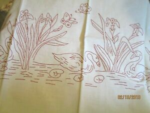 Antique Red Work Swans Swimming On Pond Linen Lay Over Pillow Sham Cover