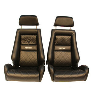 2 Jdm Recaro Lx Classic Leather Reclinable Solid Headrest Racing Front Seats Car