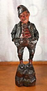 Black Forest Gnome Elf Statue Wood Carving Figure 9 5
