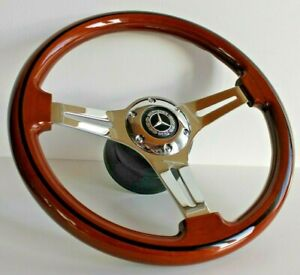 Steering Wheel Mercedes Benz Wood Chrome W123 W124 W126 W201 R107 1979 1992