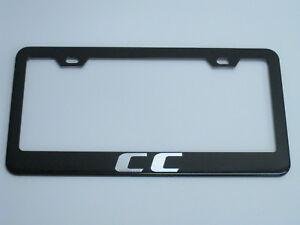 Vw Cc Black Metal License Plate Frame Tag Holder With Caps