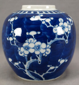 Late Qing 19th Century Chinese Export Blue White Hawthorn Prunus Ginger Jar B