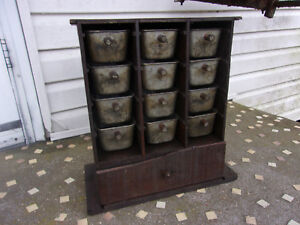 Vintage Primitave Home Made Spice Cabinet Country Farm Find Metal Drawers Look