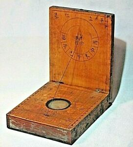 Antique Chinese Diptych Sundial Compass In Case