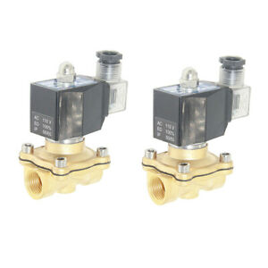2pcs Ac 110v 1 2 Brass Solenoid Valve Electric Valve For Water Air Oil