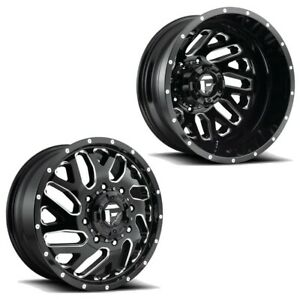 22x8 25 D581 Fuel Triton Black Milled 05 Up Ford Dually Wheel Set 8x200 Set Of 6