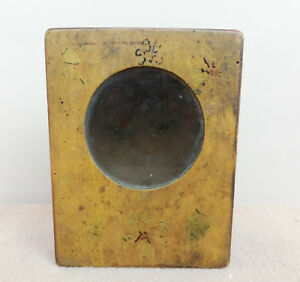 Old Antique Handmade Wooden Wall Hanging Box W Original Glass Old Yellow Paint