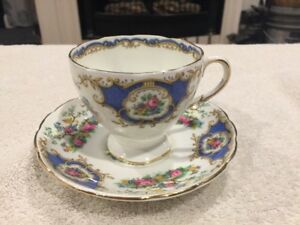 Vintage Foley Tea Cup Saucer Broadway Blue With Beautiful Bird