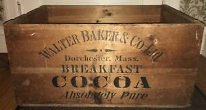 Large Antique Walter Baker Co Dorchester Mass Cocoa Wooden Shipping Crate