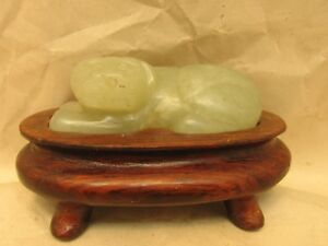 Antique Chinese White Jade Foo Dog Brush Rest With Custom Made Stand