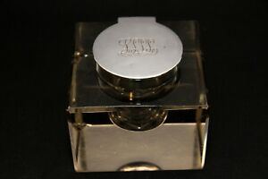 Antique English Sterling Silver Glass Inkwell Grinsell Sons Birmingham 1911