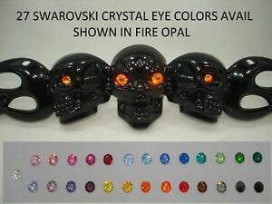 Black Metal Skull Flames Motorcycle License Plate Frame 27 Swarovski Eye Colors