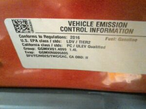 2016 Chevrolet Sonic Trax Turbo Engine Motor 1 4l Luv