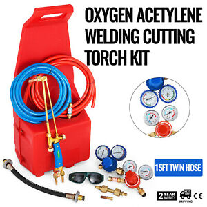 Professional Tote Oxygen Acetylene Oxy Welding Cutting Torch Kit With Red Tote