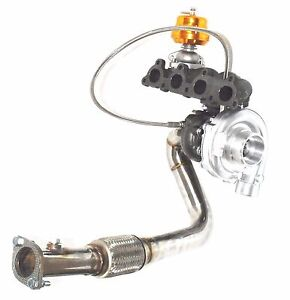Turbocharger Manifold Downpipe Adj Wastegate Fit 88 91 Honda Crx D15d16 T3 T4