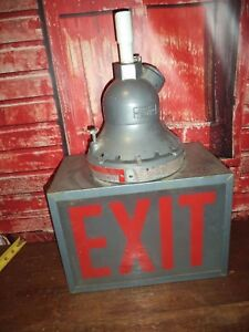 Vtg Hubbell Killark Fire Fighting Industrial Exit Electric Lighted Sign Haz Mat