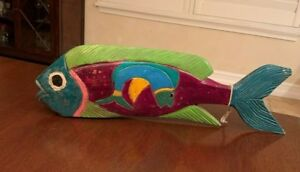 Folk Art Hand Carved And Painted Whimsical Wooden Fish