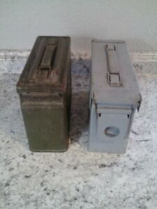 Vintage Original 2 Embossed Military Metal Ammo Boxes Cal 30 M1 Ammunition Box