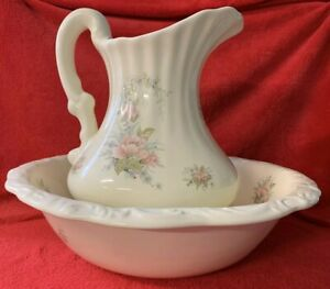 Large Floral Water Pitcher Wash Basin Bowl Set Ivory Ceramic California Pottery