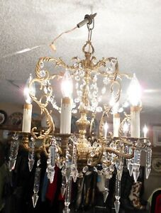 Exquisite Spanish Orb Chandelier In French Crystal Pendologue Spears