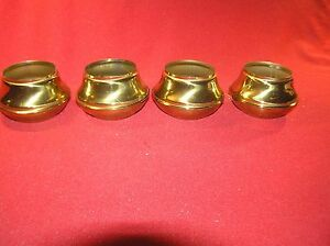 4 Brass Bed Parts End Caps Fits 2 Tubing Polished Lacquered