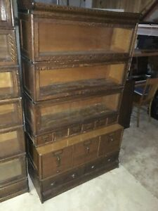 Globe Wernicke 41 Stepback 7 Section Antique Oak Bookcase File Cabinet