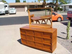 Vintage Mcm Heywood Wakefield Dresser With Mirror