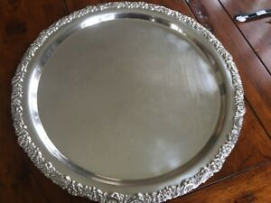 Rare Antique Wmf Hotel Silver Plate 17 Serving Tray With Ornate Border