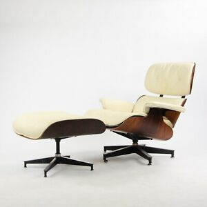 Rare 1960 S Vintage Herman Miller Eames Lounge Chair Ottoman 670 671 Ivory 2