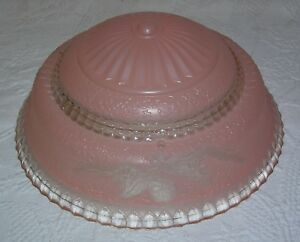 Vintage Antique Art Deco 3 Hole Pink Glass Ceiling Light Shade 10 Wide